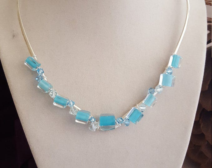Necklace Collar in Shades of Blue/Aqua Cane/Furnace Glass