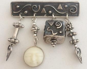 Silver Bali Bead Pin
