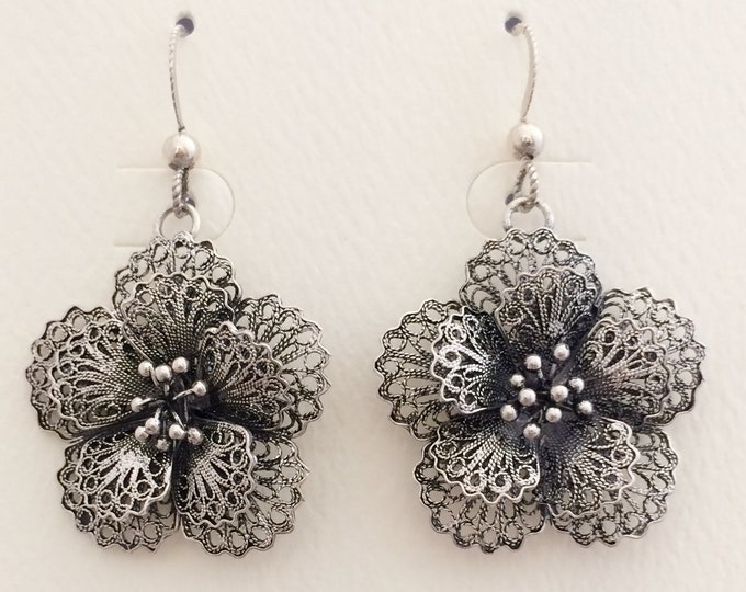 Filigree Sterling Silver Flower Earrings