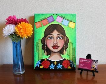 "Girls of the World - Mexico Lindo y Querido - Mixed Media Original Art (9""x12"")"