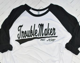 FlasH!! Just a couple left! Trouble Maker est. 2016, Dad Shirt, Daddy Shirt, Dad's Shirt, Men's Raglan,Gift for Dad,Men's shirt,Family Tee