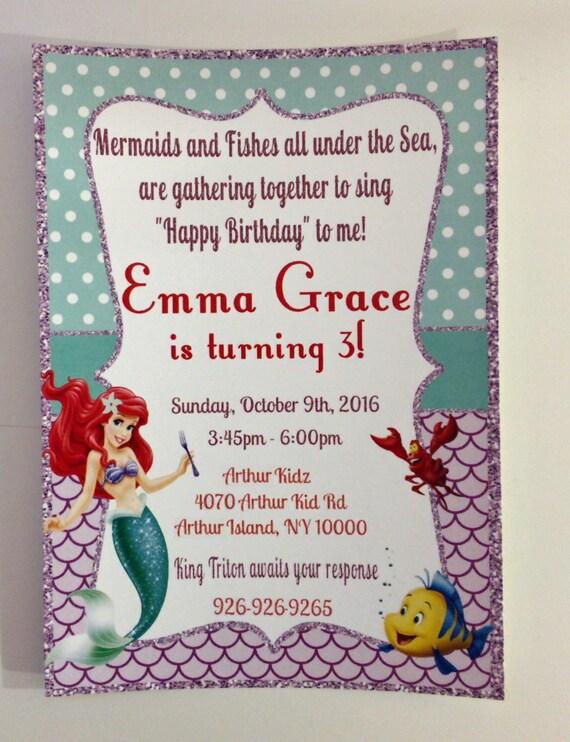 Mermaid Invite The Little Invitation