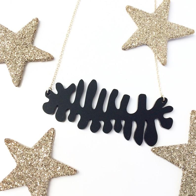 Statement necklace Fishbone Ric Rac Cactus Acrylic Statement jewellery Acrylic jewelry.Gifts under 20 Stocking filler Xmas Black necklace