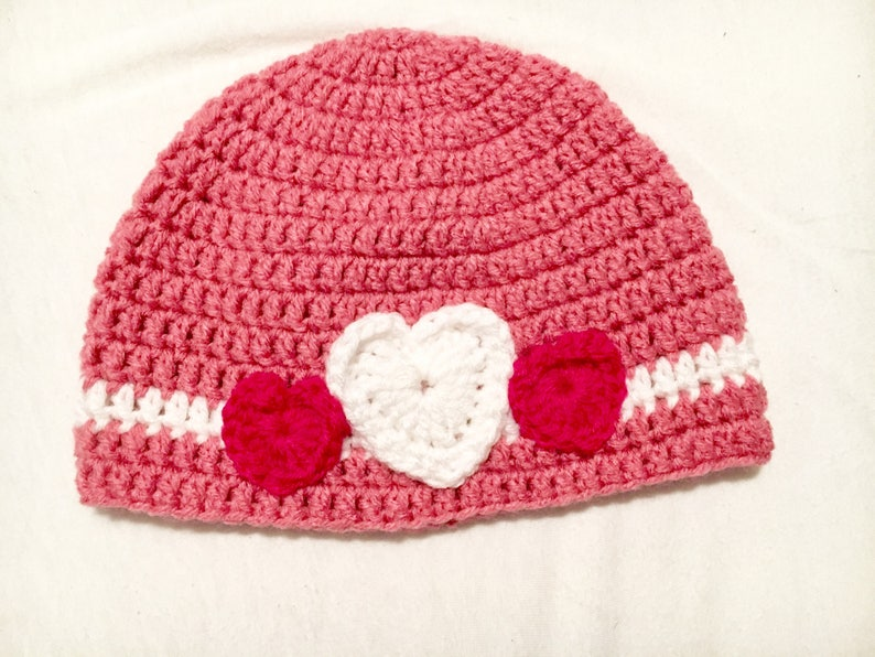 24e2edd5e6d Girls Valentine s Day Hat Pink Hat with Hearts Gifts