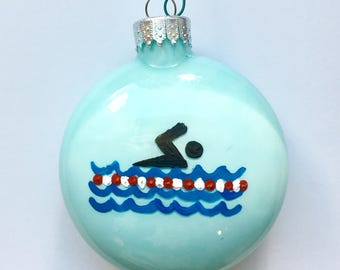 Swimmer Christmas Ornament - Personalized - Glass Ornament - Gifts for Kids- Gifts for Swimmers - Christmas Gifts - Swimming Ornament