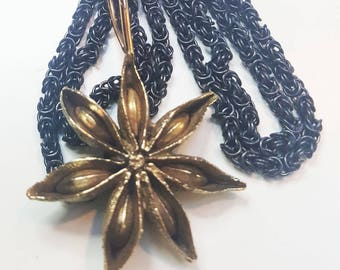 Solid brass STAR ANISE hand carved pendant on oxidized sterling silver Byzantine weave chain