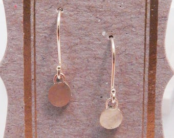 14K solid gold handmade round drop earrings on 14K gold French wires with ball end detailing, brushed finish