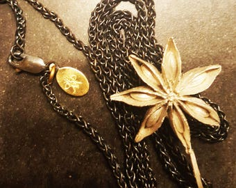 sterling silver STAR ANISE pendant on contrasting oxidized sterling silver chain