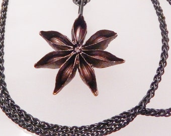 Solid brass STAR ANISE hand carved pendant on oxidized sterling silver chain