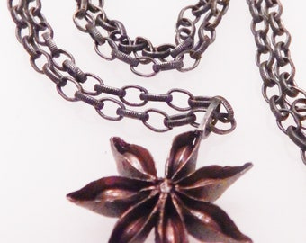 Solid Brass STAR ANISE pendant on oxidized vintage notched link chain