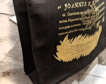 hand silk-screened gold on black gusset tote bags