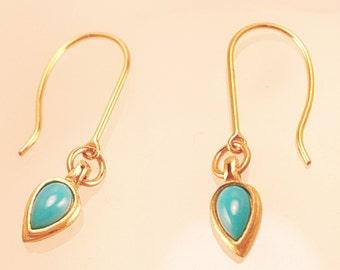 14KY custom design bezel set turquoise earrings on handmade ear wires