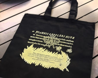 hand silk-screened gold on black tote bags