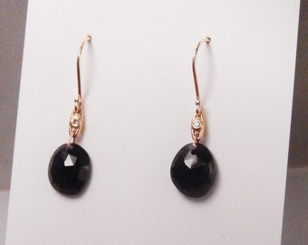 18KY solid gold & rose cut black spinel earrings with bezel set diamond accents on French wires