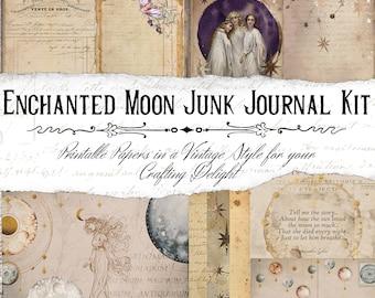 Enchanted Moon Junk Journal Printable Kit, Celestial Journal, Purple Junk Journal