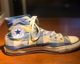6cd8a1e9189c Converse Chuck Taylor All Star Sneakers Hi Top plaid blue and yellow Size 9  Mens US