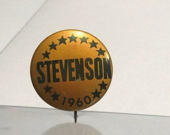 Rare Political Stevenson Kefauver Collar Tab Pin Button