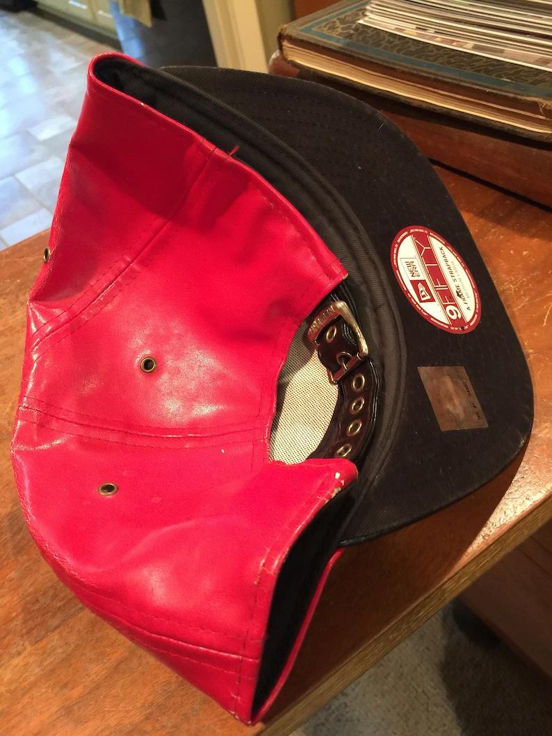 1823030c544 Chicago Bulls leather New Era Red cap hat Michael Jordan   Etsy
