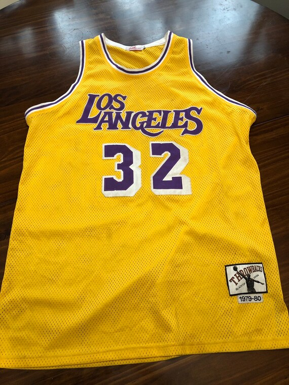 official photos 356ac 6e0a6 Magic Johnson Lakers Throwbacks Jersey 32 Los Angeles Large