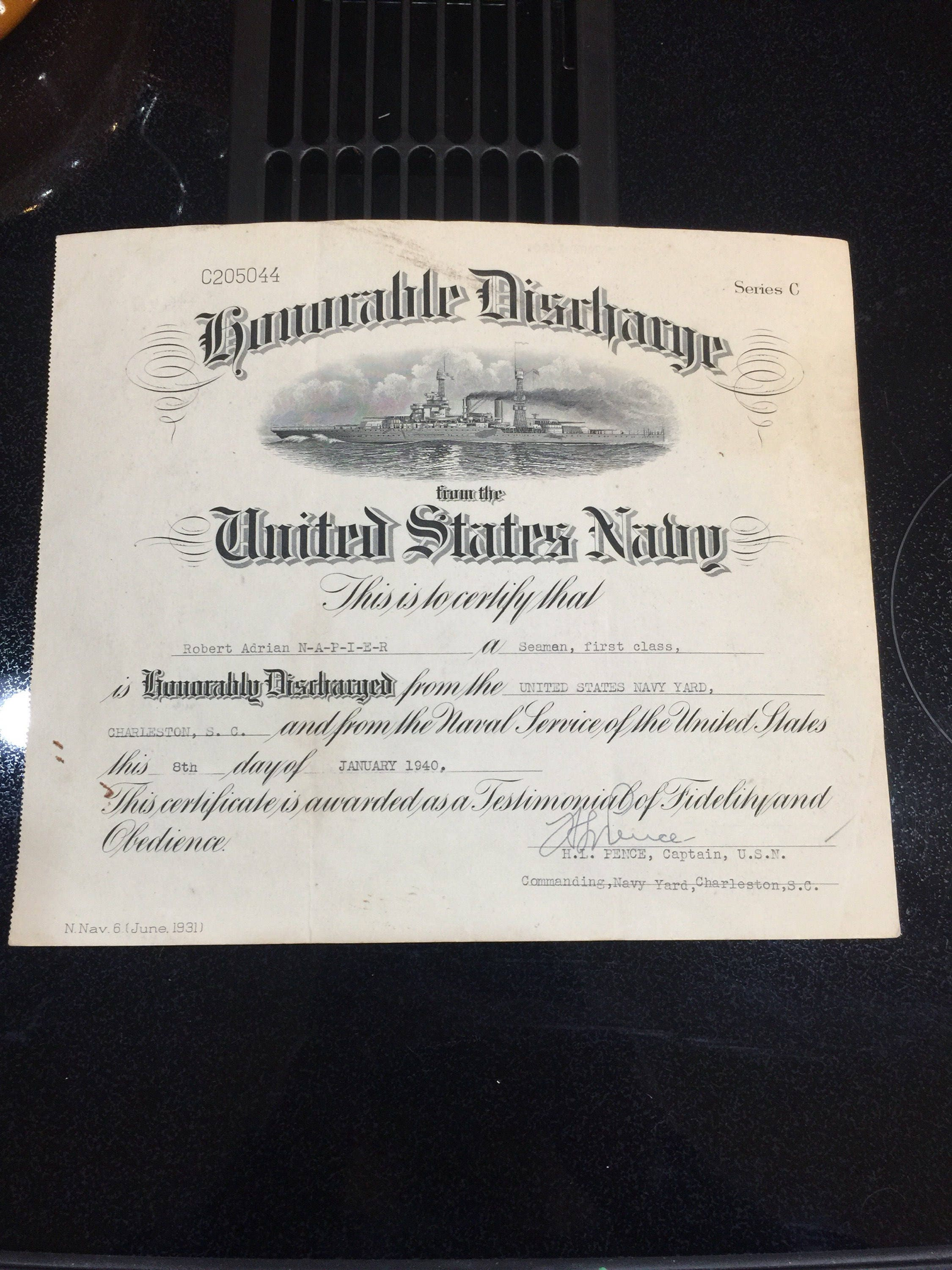 1940 Us Navy Honorable Discharge Certificate Etsy