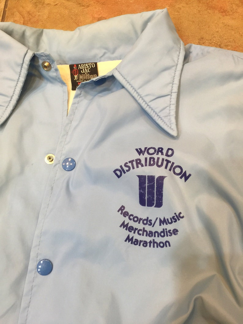 1980/'s Nylon Jacket Word Distribution Records Music Medium Snap Buttons
