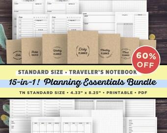 TN Standard Midori Inserts | Travelers Notebook Inserts Printable Bundle | Regular TN, Midori TN, Narrow, Instant Digital Download