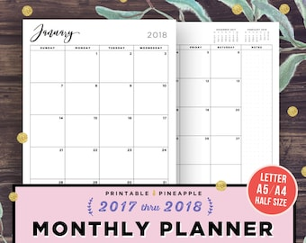 2018 Monthly Planner Printable, 2018 Agenda, Filofax A5, Half Size Inserts, Diary Calendar, Dated Month on 2 Pages, A4, MO2P