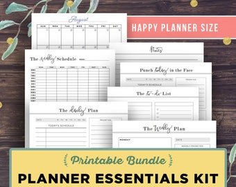 HAPPY Planner Printable Inserts: Planner Essentials Bundle, Create 365, Daily Planner, Weekly Planner, To Do List, Notes Page, Monthly