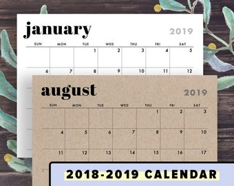 2018-2019 Wall Calendar Printable, Calendar Template, Horizontal Layout, Minimalist Design, Sunday, Monday Start Instant Download