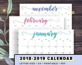 Calendar 2018-2019 Printable, Handlettering Watercolor, Calligraphy