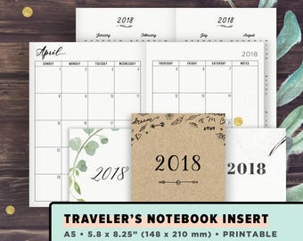 TN A5 | 2018 Monthly Planner: Month on 2 Pages, MO2P, Year at a Glance, Printable Planner | Travelers Notebook Inserts Printable