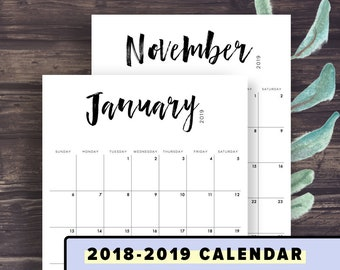 2019 calendar printable 2018 2019 calendar template instant download brushlettering