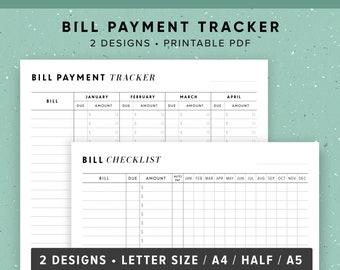 Bill Payment Tracker, Bill Organizer, Bill Tracker, Bill Due Planner, Monthly Bill Tracker, Weekly Budget Planner, Checklist, PRINTABLE PDF