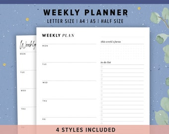 Weekly Planner Printable 4 in 1 | Printable Weekly Task List PDF, A5, Half Size, Letter, A4 | Digital Download, Minimalistt Design Templates