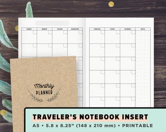 TN A5 Traveler's Notebook Inserts | Monthly Planner, Undated Month on 2 Pages | Minimalist Layout, MO2P, Foxy fix #8, Instant Download