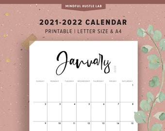 2021-2022 Calendar Printable | Digital Calendar Template | Instant Download | Calligraphy, Black & White, Letter Size, A4, Sunday Monthly