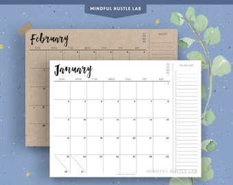 Printable 2021-2022 Calendar with To Do List, Notes | Desk Calendar, Letter Size, A4, Monday & Sunday Start Monthly | Instant Download