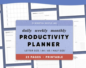 Productivity Planner Printable, Daily Weekly Monthly Planner BUNDLE, Printable Planner Pages, Inserts | template | A5, Half Size, Letter, A4