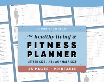 Fitness Planner Printable Bundle, Health Planner, Fitness Journal, Workout Log, Food, Calorie Tracker, Daily Weight Loss, A5, Letter, Half