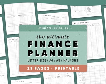 Finance Planner Printable, Financial Planner Bundle, Budget Printable, Money Saving, Expense Tracker, Debt, A5, Letter, Half Size