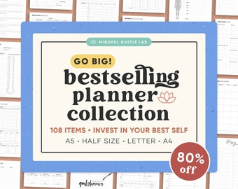 Printable Planner Bundle 5-in-1, Daily Productivity, Finance, Fitness, Mom Planner, A5 inserts, Half A4, Letter, Life Planner, Household PDF