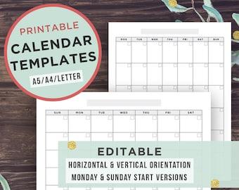 Editable Calendar Template, Printable Calendar, Monday Start + Sunday Start, Filofax A5, A4, Letter, Digital Download, Editable PDF Acrobat