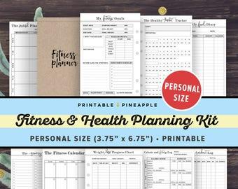fitness planner printable health planner fitness journal etsy