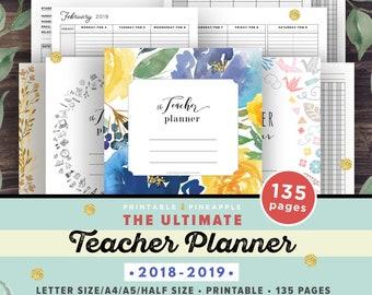 Teacher Planner 2018-2019, Lesson Planner Printable, Academic Planner, classroom roster, agenda, letter paper plan, A4 A5 Half Editable PDF