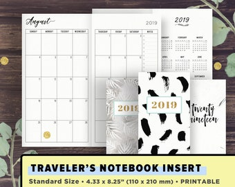 TN Standard Size | 2019 Monthly Planner: Month on 2 Pages, MO2P | SEPT 2018- DEC 2019 | Printable Planner | Travelers Notebook Inserts