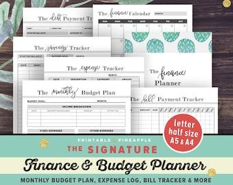 Financial Planner, Budget Planner PRINTABLE, Finance Planner, A5, Letter, Half Size Money Planning, Monthly Saving, Expense Tracker, Debt
