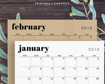 2018 Wall Calendar, Printable, includes Holidays, 2017-2018, Horizontal Layout, Minimalist Design, Sunday, Monday Start Instant Download