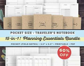Pocket Size Traveler's Notebook Inserts Printable | Planning Essentials Bundle | TN Pocket, Field Notes Size, Foxy Fix #2 | Instant Download