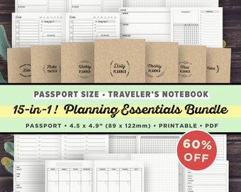 TN PASSPORT Size Inserts - Planning Essentials Bundle - PRINTABLE - Traveler's Notebook Refills, Daily, Weekly, Monthly, Habit Tracker, Meal