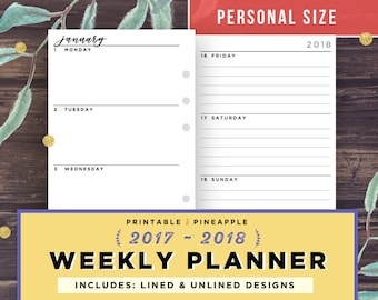 Personal Planner Inserts, Weekly Planner 2017-2018, Printable Week on 2 Pages (WO2P), Dated Agenda, Filofax Horizontal, Kikki K, Minimalist